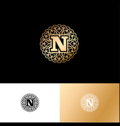 n gold letter monogram gold circle lace ornament vector image