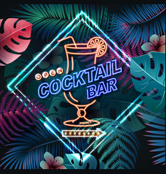Neon sign cocktail bar on fluorescent tropic vector