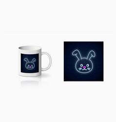 Neon sign cute rabbit in kawaii style print vector