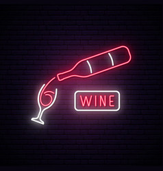 Neon wine sign wine bar advertising design vector