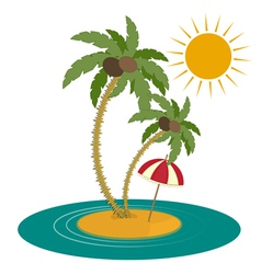 Palm Trees and Island on White Background vector