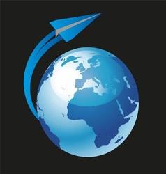 Paper Plane Flying Around World Globe vector