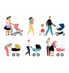 parents with kids characters vector image