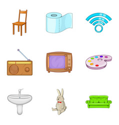 Piece of furniture icons set cartoon style vector