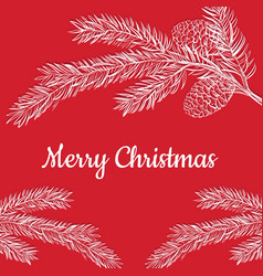 postcard merry christmas on a red background vector image