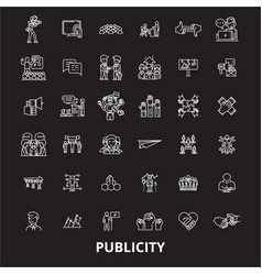 publicity editable line icons set on black vector image