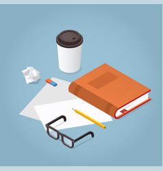 reading book isometric vector image