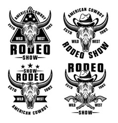 Rodeo show set four wild west style vector