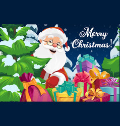 Santa claus with christmas tree and gift boxes vector