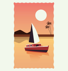 Sea scape flat scene with palms and sailboat vector