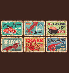 seafood shop fish squid and shrimp rusty plates vector image