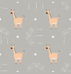 seamless pattern funny cartoon giraffe with palm vector image