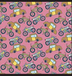 seamless pattern vehicle cute kids hand drawn vector image