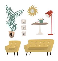 set modern scandi interior design elements vector image