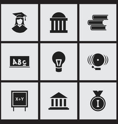 Set of 9 editable graduation icons includes vector
