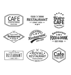 Set of isolated cafe and restaurant logos vector