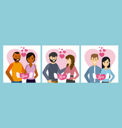 set of love cards vector image