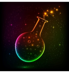 Shining rainbow bottle with magic lights vector image