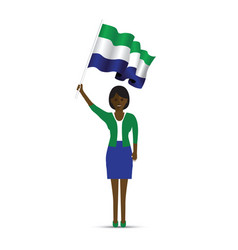 sierra leone flag waving woman vector image