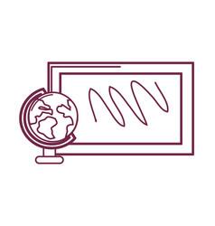Silhouette school board with earth planet desk vector