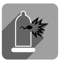Sperm Escape Condom Flat Square Icon with Long vector