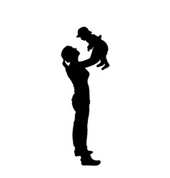 sticker to car silhouette mother with child vector image