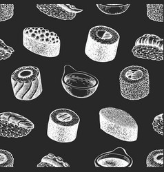 sushi seamless pattern japanese cuisine hand vector image
