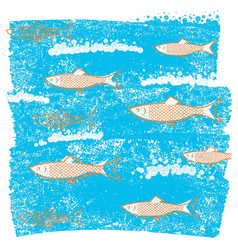 underwater fishes blue background on old grunge vector image
