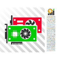 video graphic cards flat icon with bonus vector image