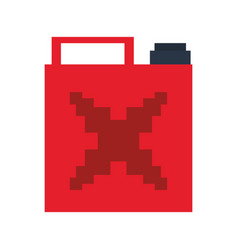 Videogame pixelated fuel can isolated symbol vector
