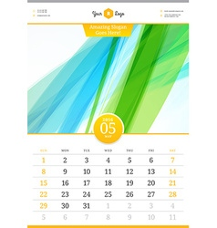 Wall calendar 2016 may template with abstract vector