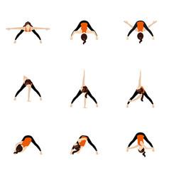 Wide legged forward bend twist variations yoga vector