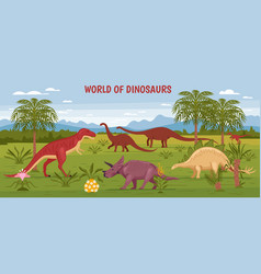 Wild dinosaur world background vector