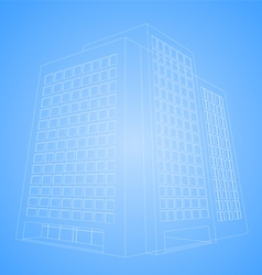Wireframe office building vector