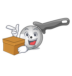 With box character pizza cutter with handle vector