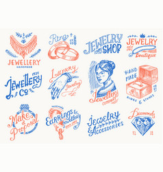 women s jewelry shop badges and logo set luxury vector image