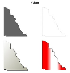 Yukon blank outline map set vector image