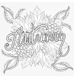 Zentangle stylized Autumn typographic background vector