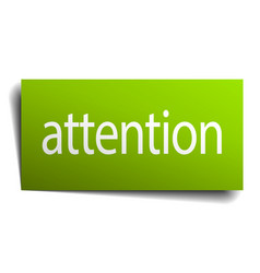 Attention green paper sign on white background vector