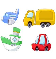 cartoon transport set vector image vector image