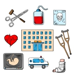 Hospital and medicine sketch style icons vector image vector image