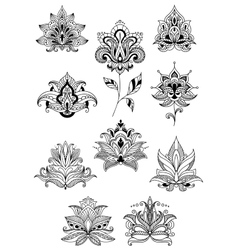 Indian persian and turkish paisley flowers vector image vector image