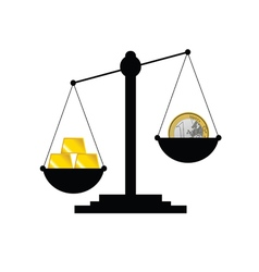 scale with gold bars and euro vector image