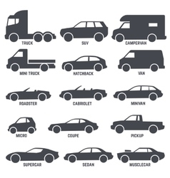 Car automobile types black icons isolated vector image