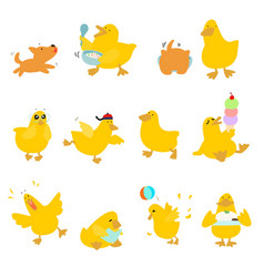 cute character duck variety action pack vector image vector image