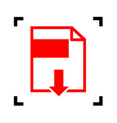file download sign red icon inside black vector image vector image