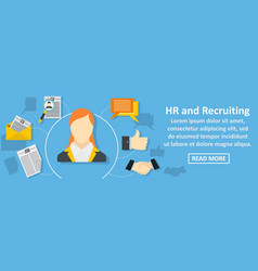 hr and recruiting banner horizontal concept vector image