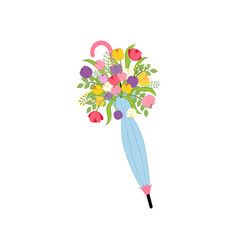 spring flowers in umbrella vector image
