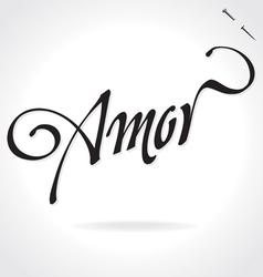AMOR original custom hand lettering vector image vector image