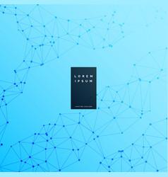 blue digital wireframe science background vector image